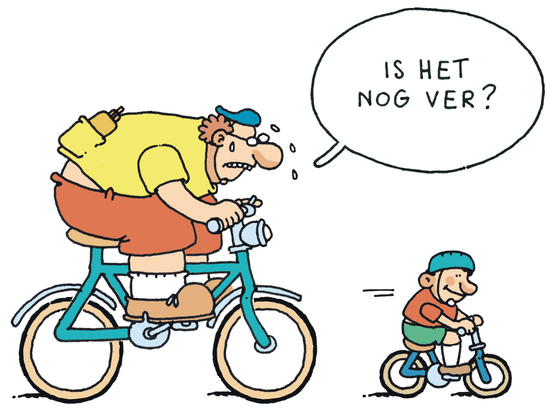 vader Hij mag het leren op een geile, oude fiets
